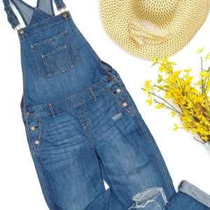 American Rag • ripped destroyed denim overalls